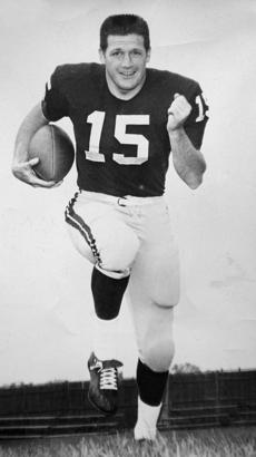 A 1962 photo of Scott Harshbarger as a half back for Harvard.